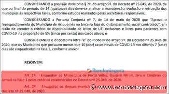 Após aumento de casos de Coronavírus, Jaru e Candeias entram na fase 1 e terão que fechar comércio - Jornal Rondoniagora