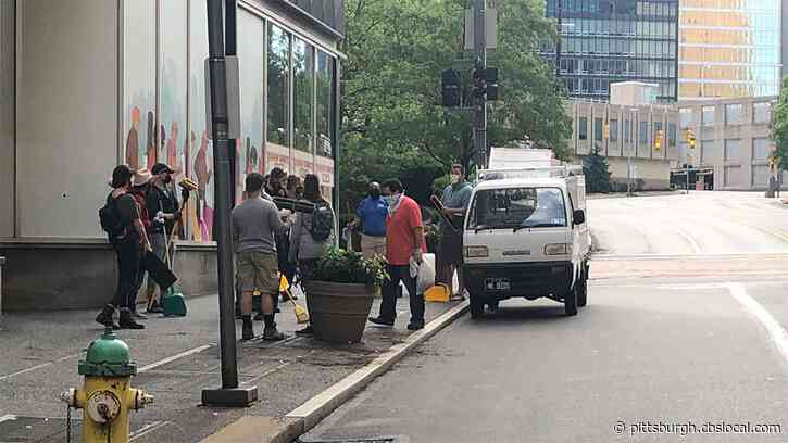 'Someone's Got To Fix This': Volunteers Clean Up Downtown Pittsburgh After George Floyd Protest