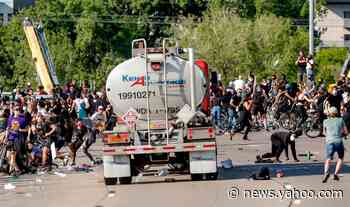 Truck seen driving into protesters in Minneapolis