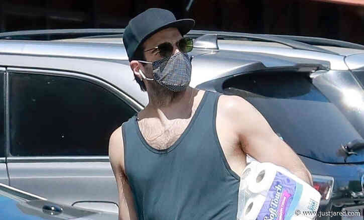 Zachary Quinto Wears Tank Shirt While Stocking Up on Toilet Paper