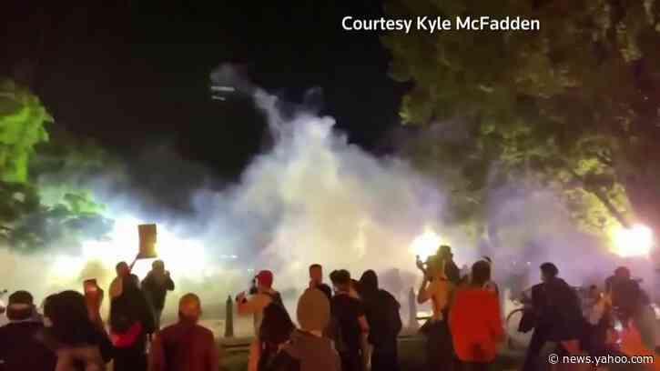 Tear gas, fires outside White House