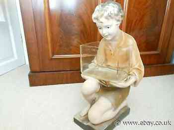 Vintage 1930's Large Plaster Figure of a Kneeling Boy
