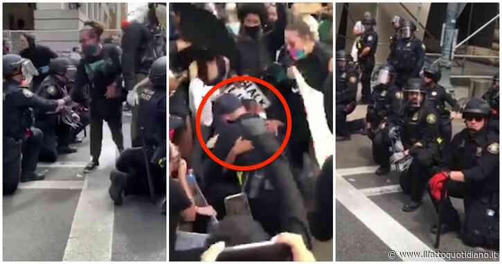 George Floyd, dalla California all'Iowa fino allo Stato di New York e Boston: i poliziotti si inginocchiano insieme ai manifestanti
