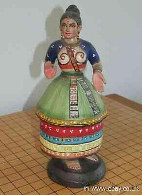 Rare 1960s Indian Papier Mache Head Bobbing Doll.
