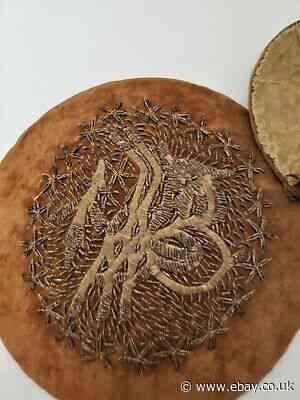 Unusual 17-18th Century Mirror Silver Raised Metal Thread Embroidered on velvet