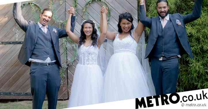 Sisters marry twin brothers with incredible double wedding