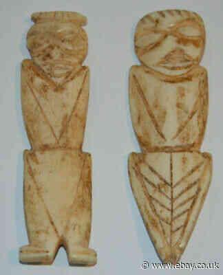 "Original Antique Hand Carved Bovine Bone Figures Handmade Art 3.75"" ESTATE FIND"