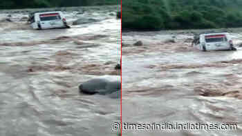 Watch: Car washed away in flash flood in J&K's Poonch