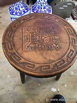 Aztec Leather Work Small Table