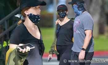 Chris Pratt and pregnant Katherine Schwarzenegger stay close during masked stroll in Santa Monica