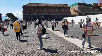 Napoli: maschere bianche e cartelloni per il sit-in dei prof licenziati in piazza del Plebiscito - Il Mattino