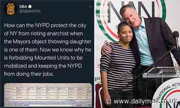 Twitter temporarily suspends account of NYC police union which 'doxxed' Mayor de Blasio's daughter