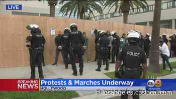 Protesters Arrested For Unlawful Assembly, Curfew Violations In Hollywood - CBS Los Angeles