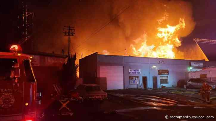 Firefighters Battling 5-Alarm Commerical Fire Affecting Multiple Buildings In South Sacramento