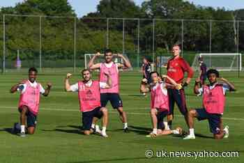 Arsenal squad hard at work in training ahead of Man City restart game