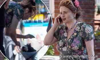 Helena Bonham Carter catches the eye in a seasonal floral print dress - Daily Mail