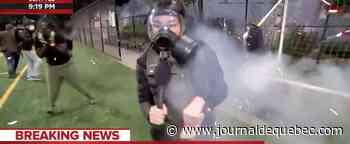 [VIDÉO] Une journaliste atteinte par des feux d'artifice en direct doit fuir une scène chaotique
