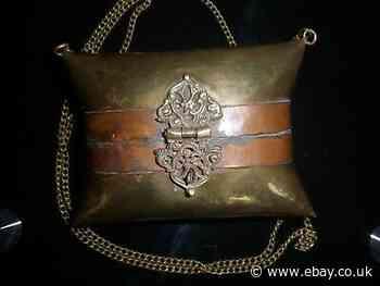 ANTIQUE VICTORIAN BRASS & COPPER PILLOW PURSE/CLUTCH BAG