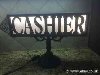 Vintage Cashier Lighted Sign, Register Metal Display Sign