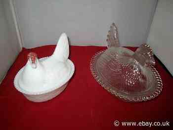 Lot of 2 Vintage Westmoreland Milk Glass Hen Chicken Basketweave Candy Dishes