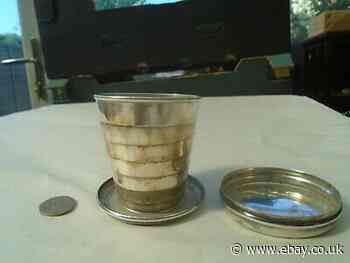 Interesting antique silver plate collapsible beaker with lid cover UNUSUAL CURIO