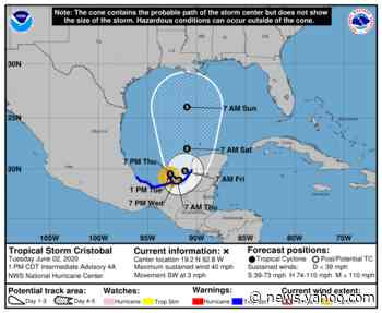 Tropical Storm Cristobal has formed in Gulf of Mexico and may approach US by weekend