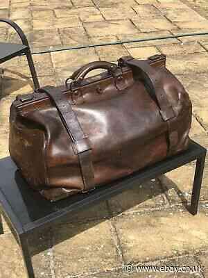 Large Vintage Leather holdall - Grahame & Co Glasgow. Vintage Car Luggage Superb