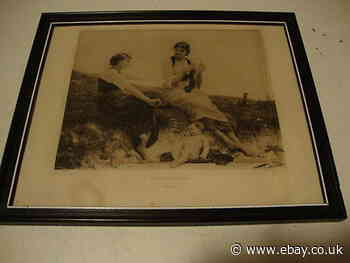 1884 Antique black and white picture in frame - By The Seaside