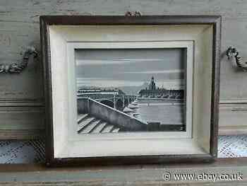 Antique Painting Wood Carved Black And White Lyon Fourvière Rhone Signed Hezy