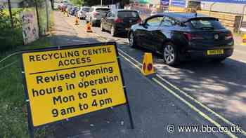 Long queues as recycling centres reopen - BBC News