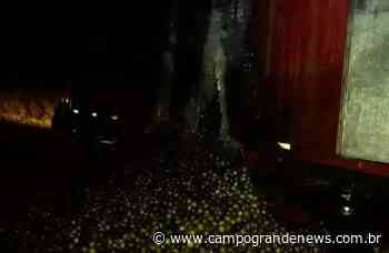 Caminhão carregado com caixas de laranja pega fogo na MS-276 - Campo Grande News