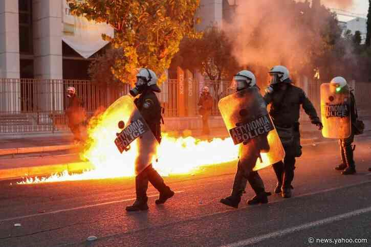 Greek demonstrators hurl firebombs towards U.S. embassy in Athens