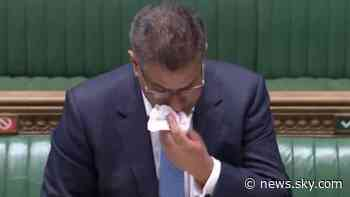 Coronavirus: Alok Sharma tested for COVID-19 after being visibly unwell in Commons - Sky News