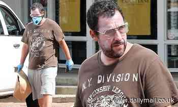 Adam Sandler wears white sunscreen on face for Malibu stroll - Daily Mail