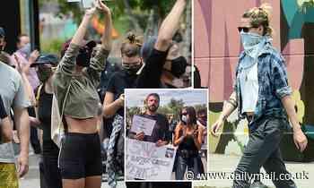 Emily Ratakjowski, Kristen Stewart, Ben Affleck, Ana De Armas march in Black Lives Matter protests - Daily Mail