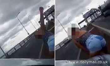 NZ driver stops in the middle of Auckland Harbour bridge to get out and TWERK as traffic roars past