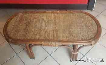 Superb Coffee Table Antique IN Rattan And Caning