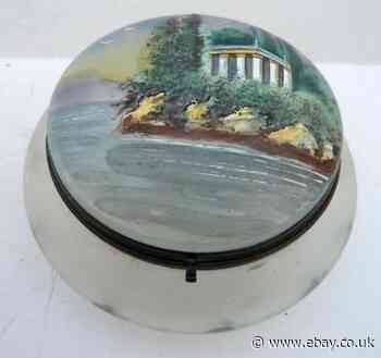 Beautiful Box Jewellery Box Candy Dish Pattern Landscape Painted Enamelled 19th