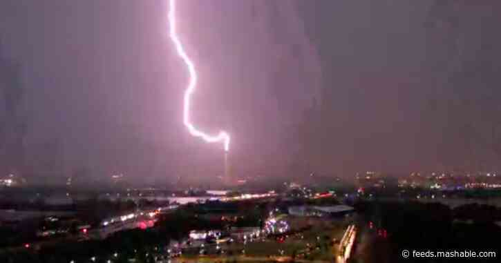 Watch this 5-second clip of lightning striking the Washington Monument