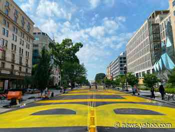'Black Lives Matter' painted in 50-foot yellow letters near White House to honor George Floyd protesters
