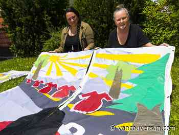 Fabric banners to decorate exterior of St. Andrew's-Wesley United