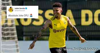 Chelsea and Man United fans convinced of Jadon Sancho transfer after winger hits out on Twitter - Football.London