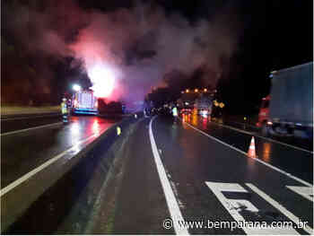 Caminhão em chamas interdita BR-376, em Guaratuba, nos dois sentidos - Bem Paraná