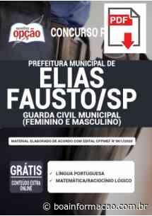 Concurso Prefeitura de Elias Fausto SP 2020: Saiu EDITAL para Guarda Civil Municipal - Boa Informação