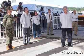 Ampliación del puerto de Coatzacoalcos supervisada por López Obrador - - NORESTE
