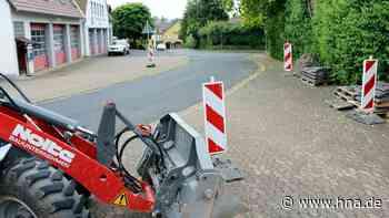 Baustelle vor dem Uslarer Feuerwehrhaus   Uslar - hna.de