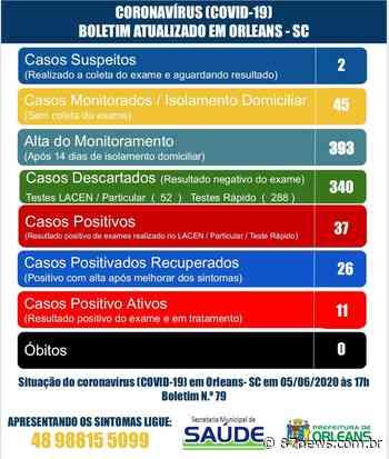 Orleans contabiliza mais duas curas do COVID-19 - http://www.87news.com.br/