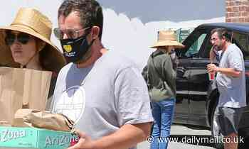 Adam Sandler spreads positivity as he grabs lunch-to-go with wife Jackie - Daily Mail