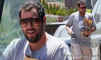 Adam Sandler keeps his fashion sense as casual as ever during run for food and coffee for two - Daily Mail