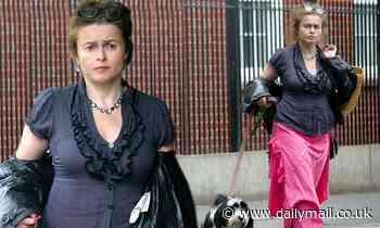 Helena Bonham Carter dons ruffled blouse teamed with pink skirt as she takes dog Pablo for a walk - Daily Mail